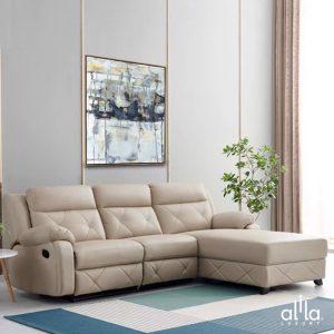 Sofa Da Chữ L Kem L23 Alila