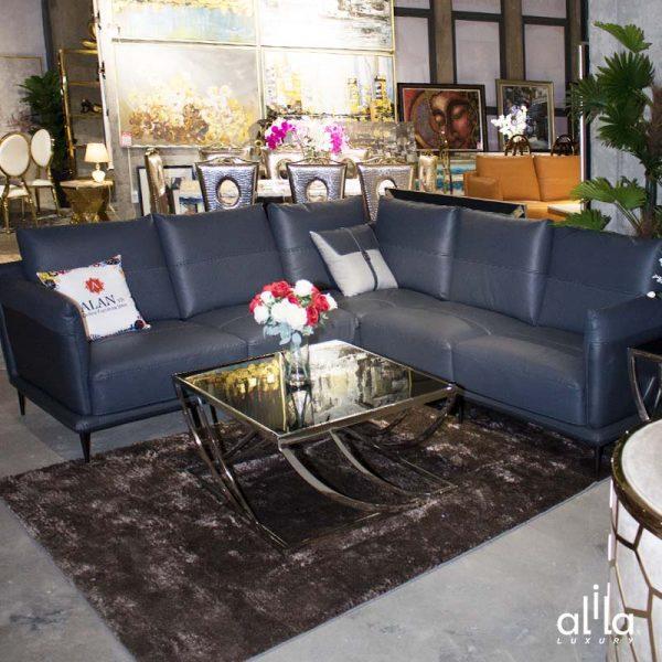 Sofa Da Góc Vuông Xám Đậm L108 Alila