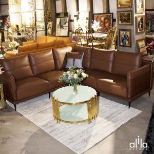 Sofa Da Góc Vuông Nâu Da Bò L108 Alila (240x240cm)