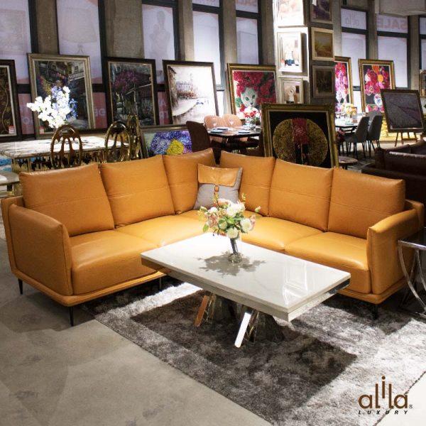 Sofa Da Góc Vuông Cam L108 Alila