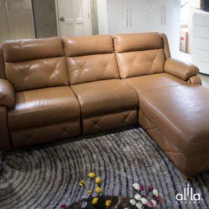 Sofa Da Chữ L Nâu Da Bò L23 Alila